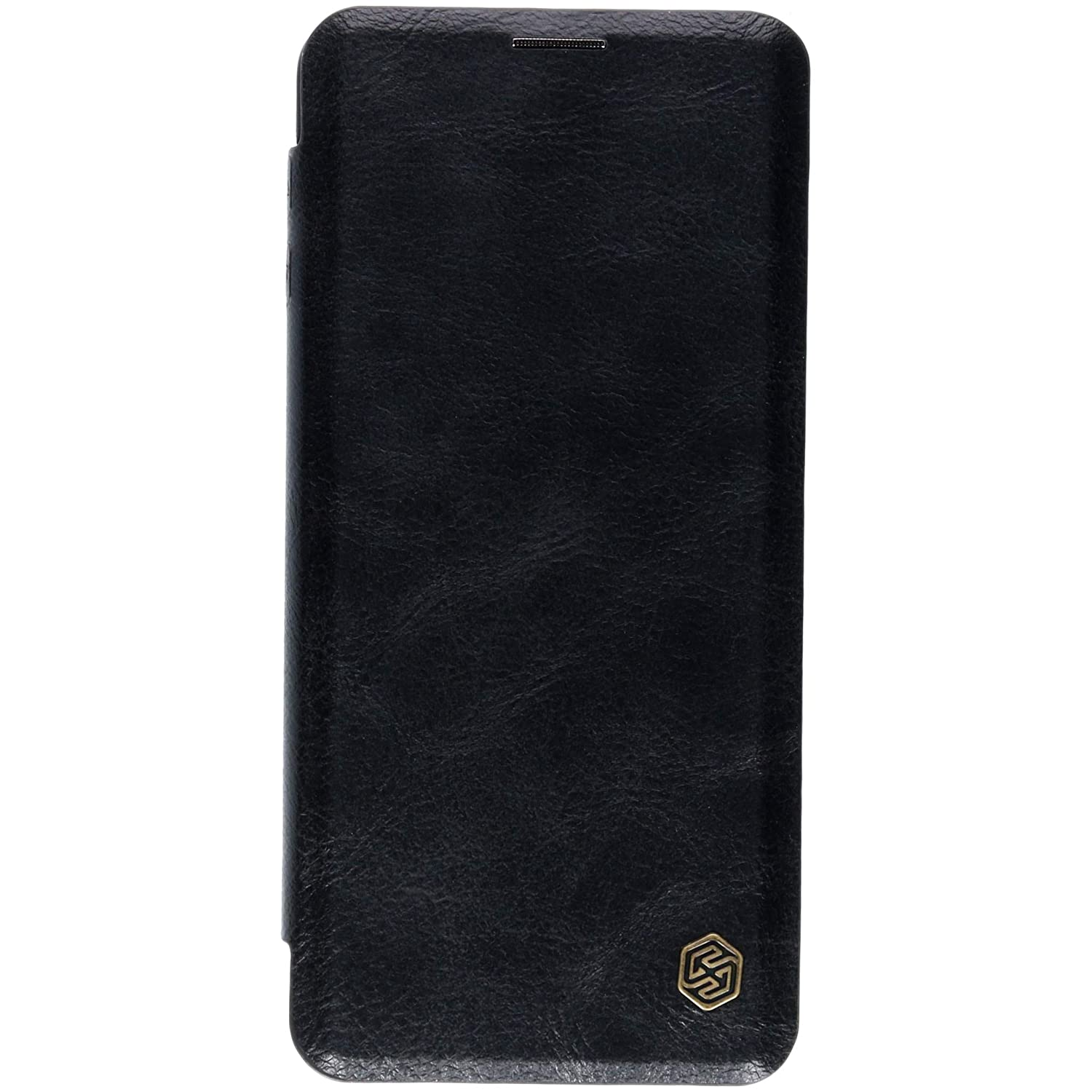 best service 2f3c2 d757d Nillkin Qin Series Royal Leather Flip Case Cover for Samsung Galaxy S10  (Black)