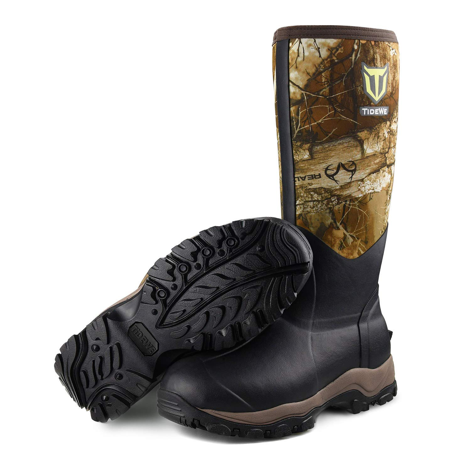 "TIDEWE Hunting Boot for Men, Insulated Waterproof Durable 16"" Men's Hunting Boot, 6mm Neoprene and Rubber Outdoor Boot Realtree Edge Camo(400Gram & Standard)"
