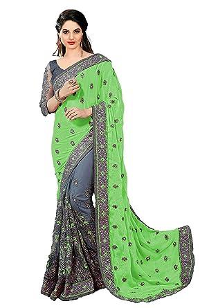 3288c80305 Priyanka Trends Women's Satin & Net Saree With Dupion Blouse Piece ...