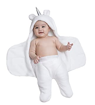 Newborn Babies Blankets Cute Unicorn Plush Swaddle Blankets Infants Baby Girl Gifts Warm Clothes Baby for 0-6 Months Grey