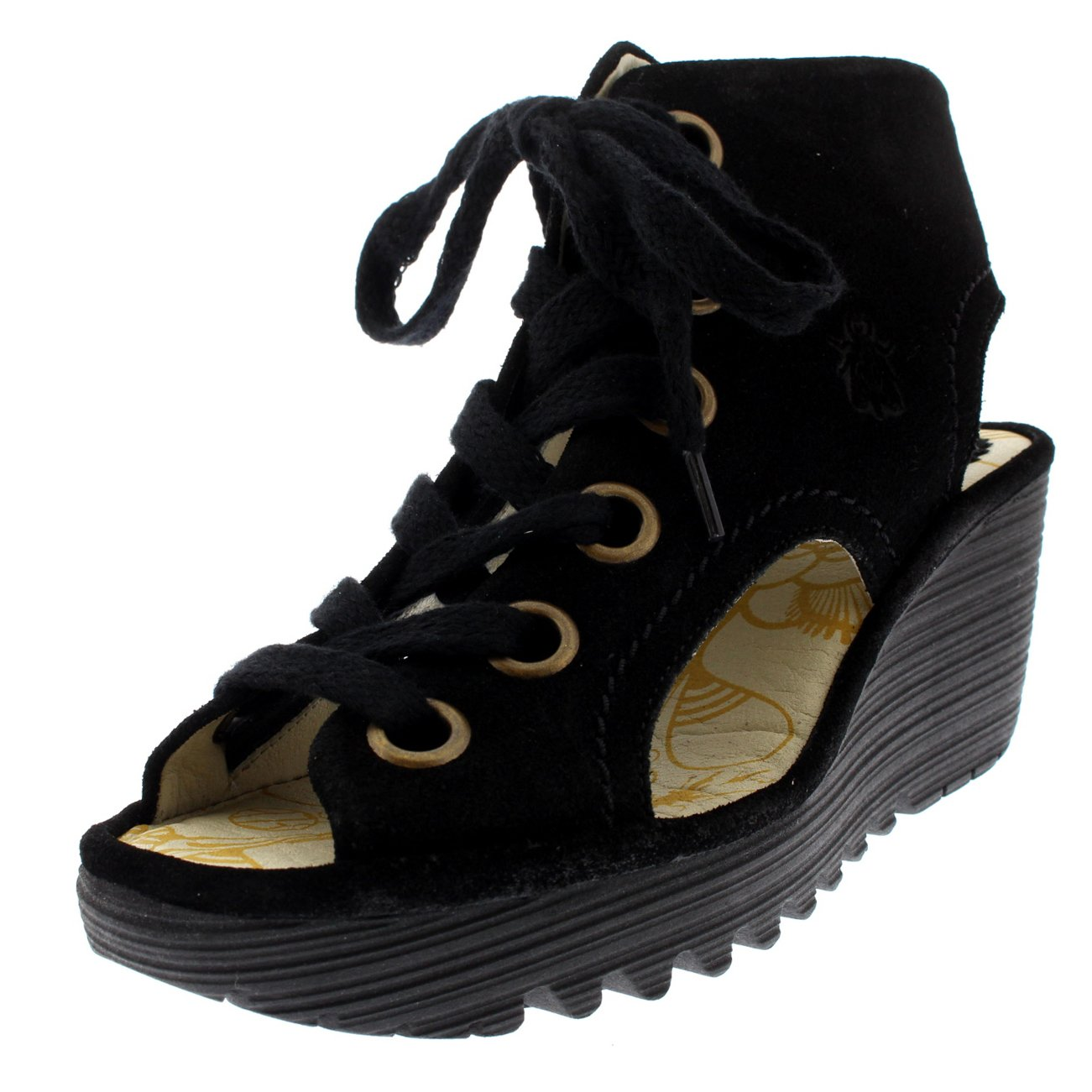 Womens Fly London Yaba Lace Up Open Toe Summer Suede Shoes Wedge Heel - Black - 8
