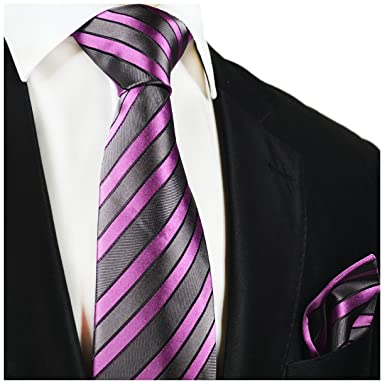 c1203db0e3c9 Amazon.com: Striped Paul Malone Silk Tie and Pocket Square Grey and Pink:  Clothing