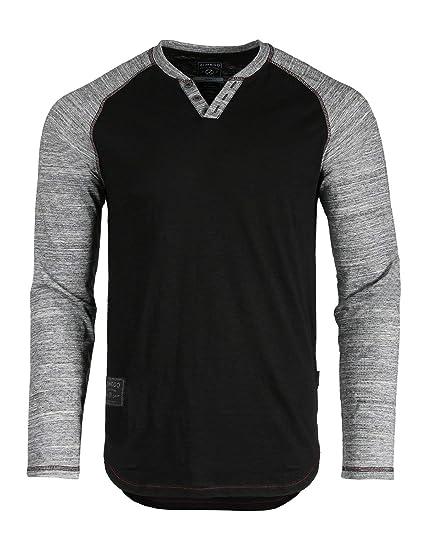 3b1e2a00c16a ZIMEGO Mens Long Sleeve Baseball Raglan V-Neck Henley Round Bottom T-Shirt  Black