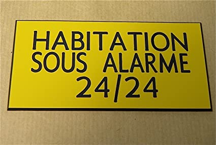 Placa adhesiva tallada ft 100 x 48 mm Habitation bajo alarma ...