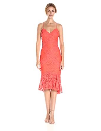 Nicole Miller Women's Leila Lace Combos X Back Dress, Coral Reef/Cre, 0
