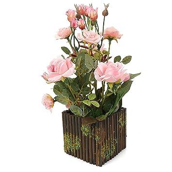 Rerxn - Arreglo floral con rosas de seda artificial y una maceta de madera, ideal para la decoración del hogar y bodas: Amazon.es: Hogar
