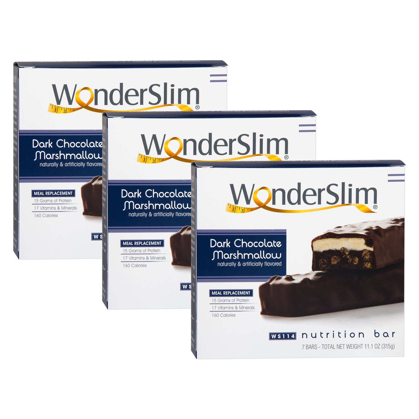 WonderSlim High Protein Meal Replacement Bar - High Fiber, Kosher, Choco Marshmallow - 3 Box Value-Pack (Save 5%)