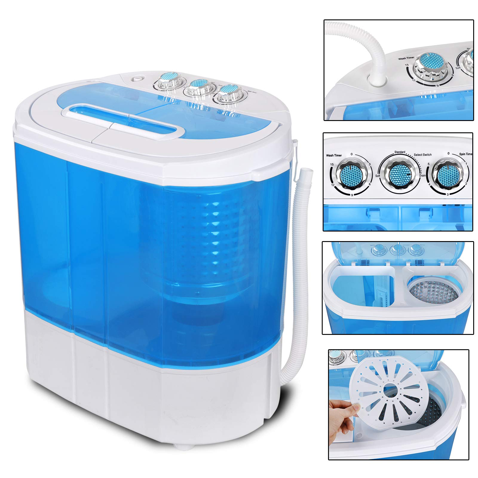 SUPER DEAL Portable Washing Machine Twin Tub 10lbs Capacity with Spin Cycle Dryer, Lightweight for Apartments, Dorm Rooms (10lbs) by SUPER DEAL