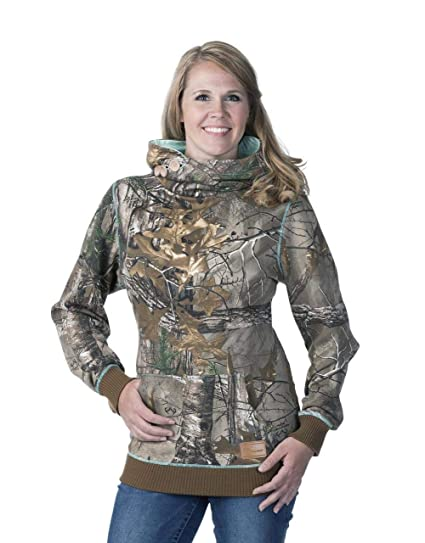 db1c8af332327 DSG Outerwear Women's Camo Side Button Hoodie, Realtree Xtra Aqua, 3X-Large