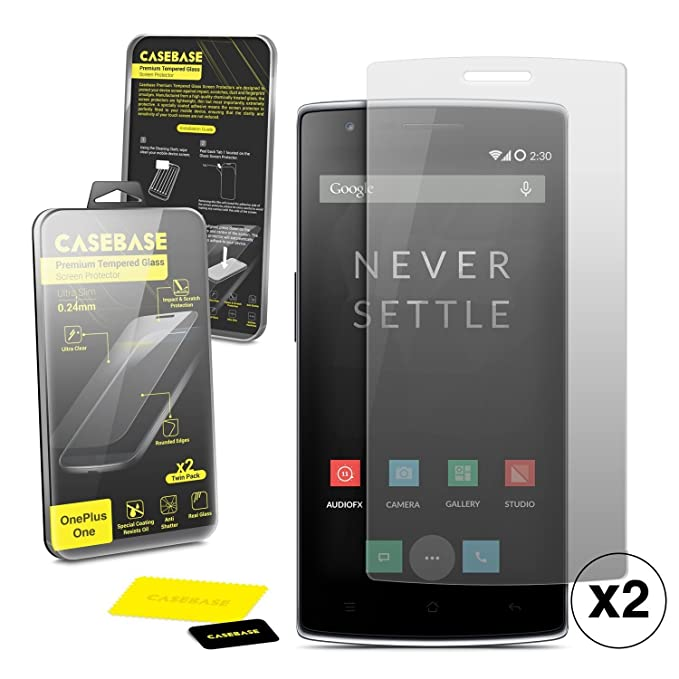 new product 0dea2 87bf5 Casebase Premium Tempered Glass Screen Protector Twin Pack for Oneplus One