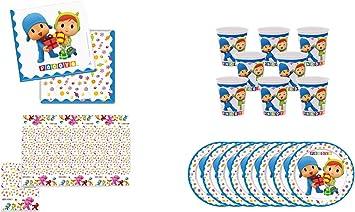 ALMACENESADAN 0462, Pack Desechables Fiesta y Cumpleaños Pocoyo y Nina, 8 Vasos, 8 Platos 23 cm, 20 servilletas y 1 Mantel 120x180 cms: Amazon.es: Juguetes y juegos