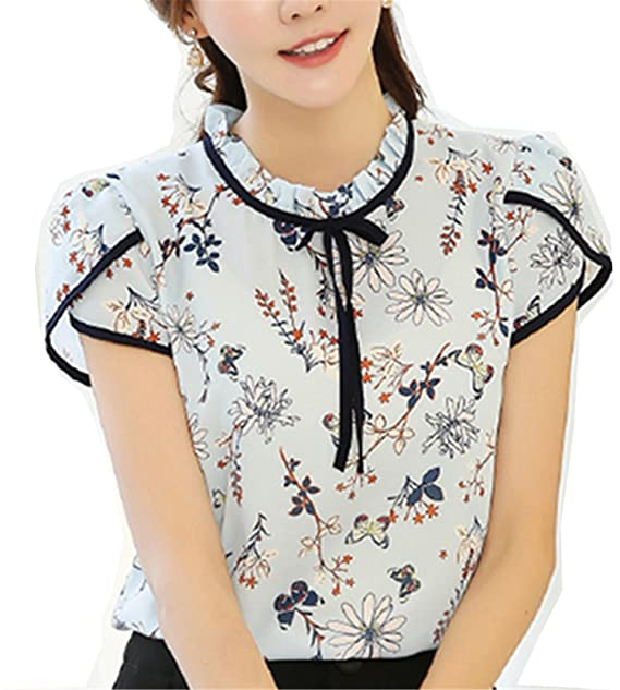 ee980c6a6e7 Image Unavailable. Image not available for. Color  NEW Summer Floral Print  Chiffon Blouse Ruffled Collar Bow Neck Shirt Petal Short ...