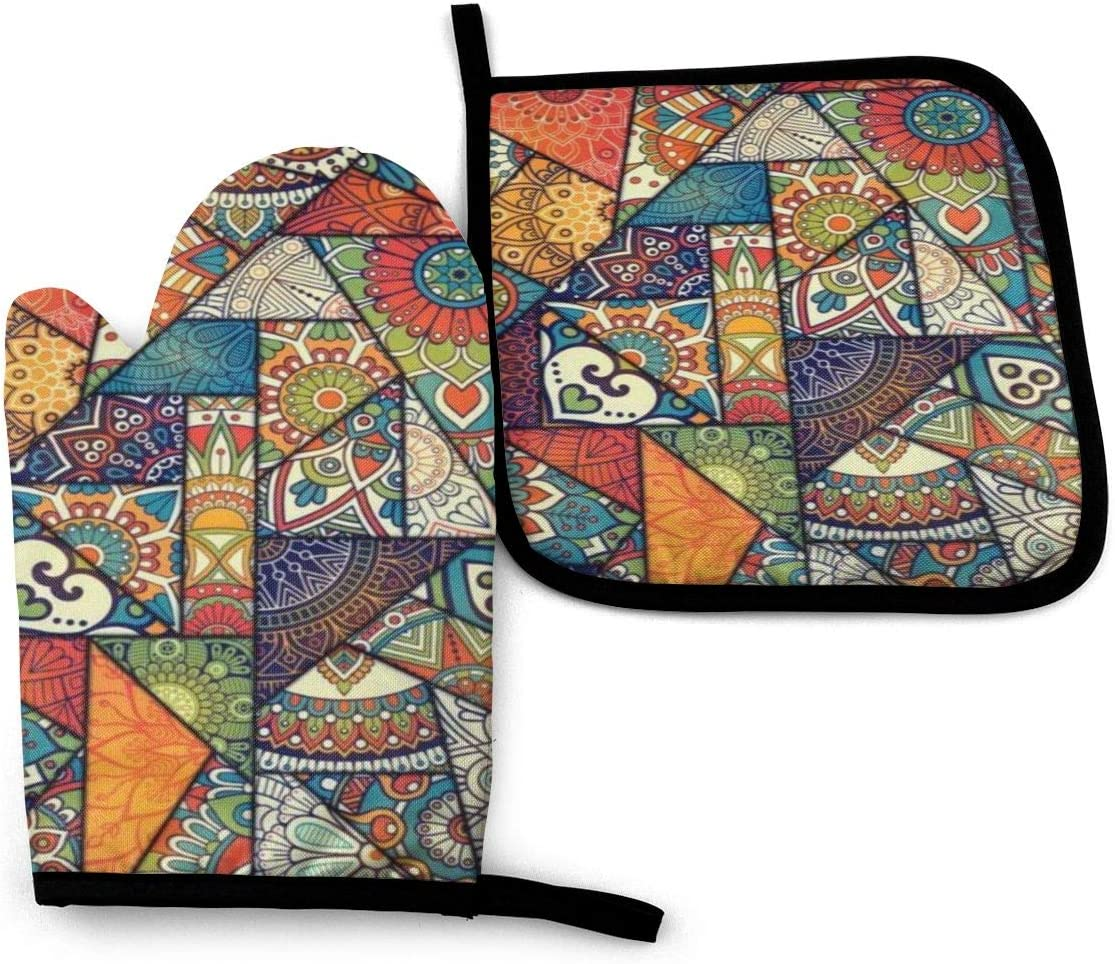 Vintage Bohemian Boho Elements Oven Mitts and Potholders, Professional Heat Resistant Water-Proof Pot Holder & Baking Gloves, (2-Piece Set)