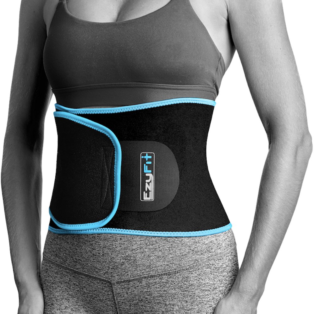 EzyFit Waist Trimmer Premium Weight Loss Ab Belt for Women & Men Exercise Workout. Sweat Enhancer Adjustable Fat Burner Stomach Wrap. Sweet Abdominal Muscle & Back Support Plus Bonus Mesh Bag