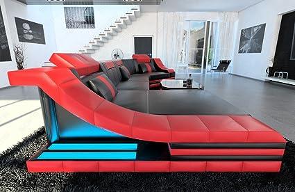 Moderno Piel Sofá Turino C Forma Negro Rojo: Amazon.es: Hogar