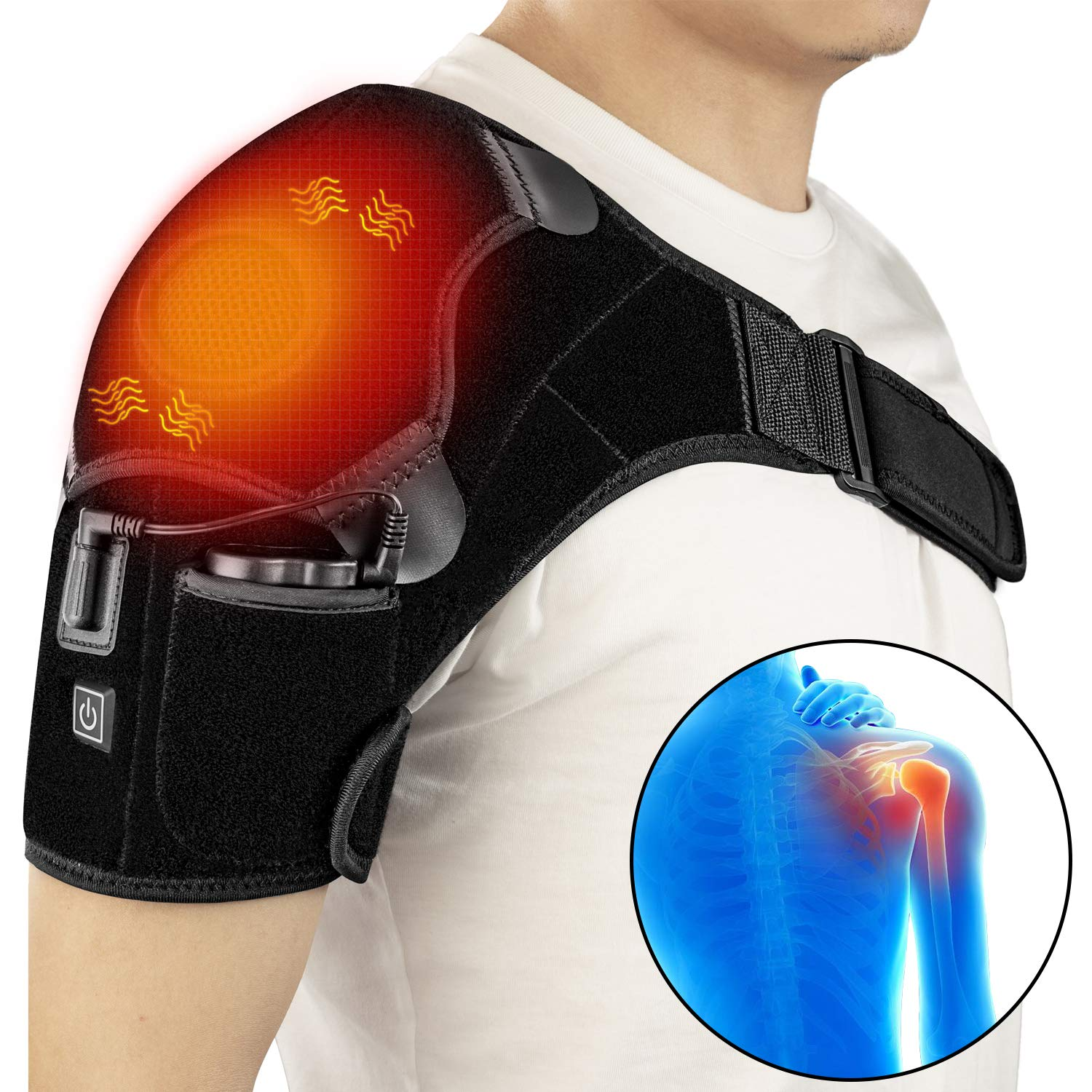 Heated Shoulder Support Brace Wrap Portable Electric 3 Heating Temperature Setting Cableless Infrared Pad with Hot&Cold Therapy for Rotator Cuff, Dislocated, Frozen Shoulder Pain Relief Patches by ZLTFashion