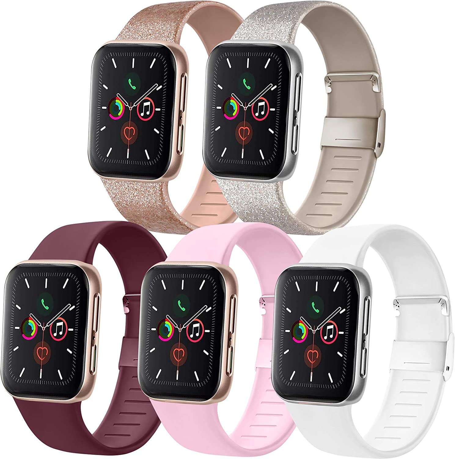 [Pack 5] Compatible with Apple Watch Bands 38mm 40mm for iWatch Series 6 5 4 3 2 1 SE, Glitter Rose Gold/Glitter Silver/Wine Red/White/Pink, 38mm/40mm S/M