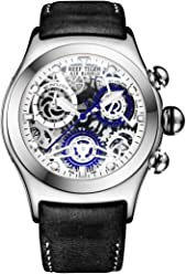 Reef Tiger Skeleton Sport Watches Mens Stainless Steel Luminous Watches with Date RGA792