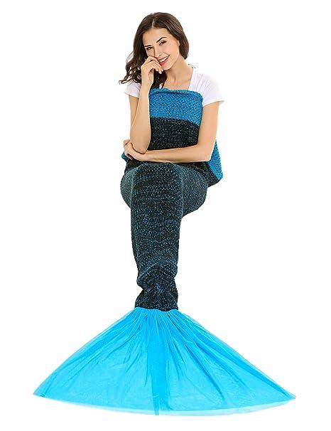 Amazon.com: soteer cola de sirena manta manta tejer crochet ...