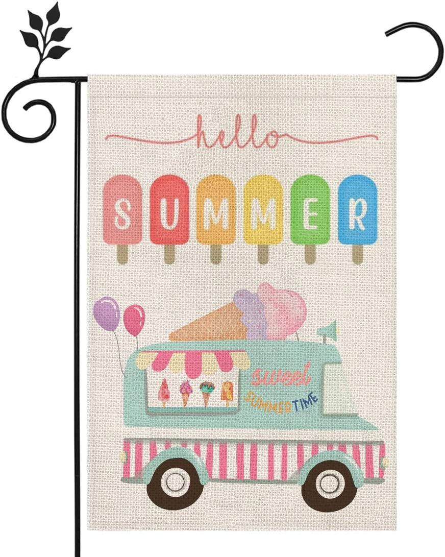 CROWNED BEAUTY Hello Summer Garden Flag Ice Cream 12×18 Inch Double Sided Vertical Yard Outdoor Decoration CF174-12