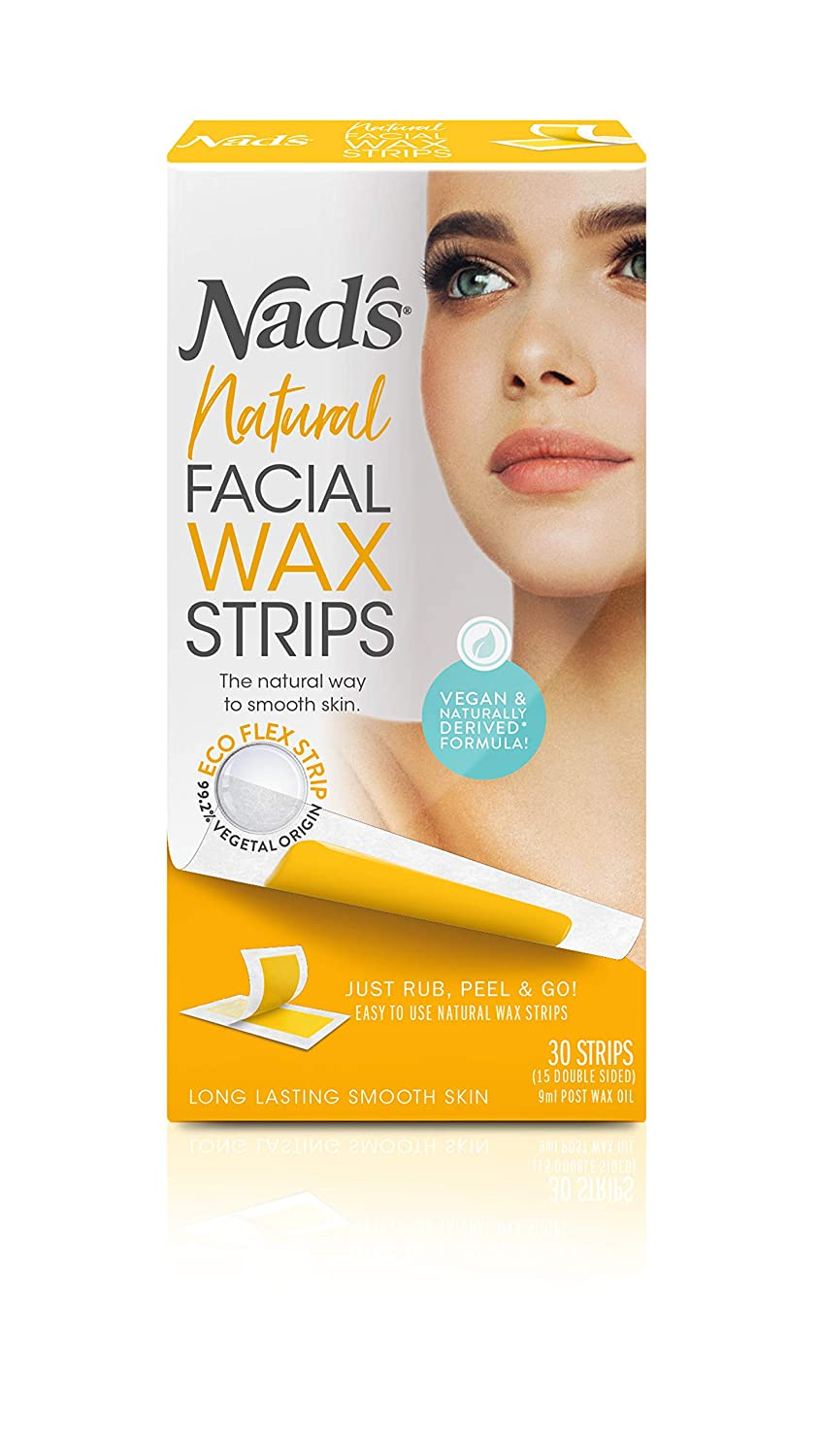 NAD'S facial wax Strips - Natural All Skin Types - Facial Hair Removal for Women - at Home Waxing Kit With 30 Face Wax Strips & post wax Oil