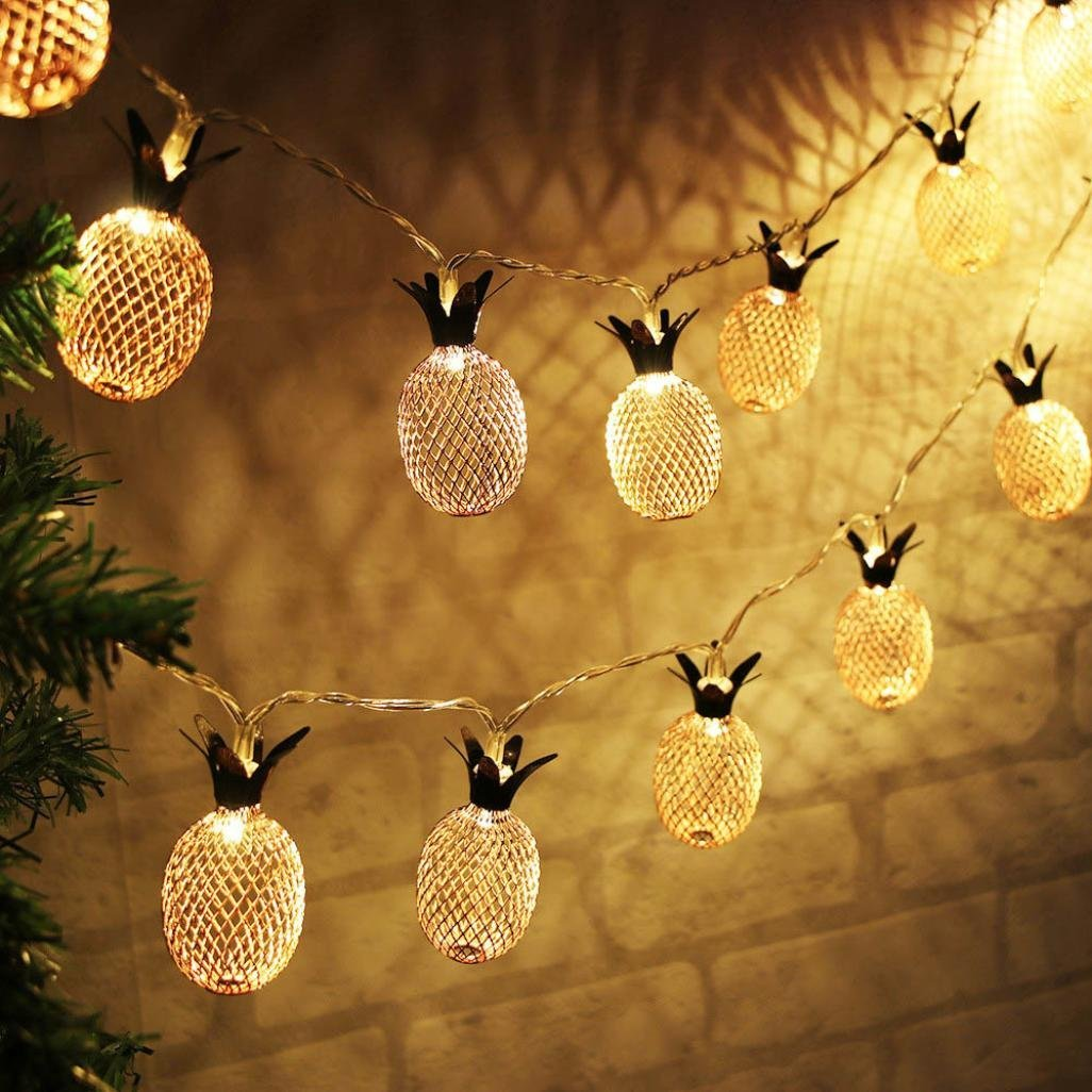 Aobiny Lamp string, LED Metal Hollowed Pineapple Holiday Decorative Lamp String (Gold) by Aobiny (Image #2)