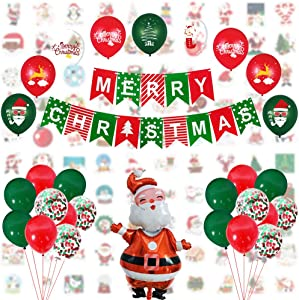 Christmas Party Supplies Decorations Set – Christmas Decorations Set of 129pieces- Banner,Sticker, Santa Claus Foil Balloons, 12inch Confetti Balloons, Latex Balloons for Christmas Decorations