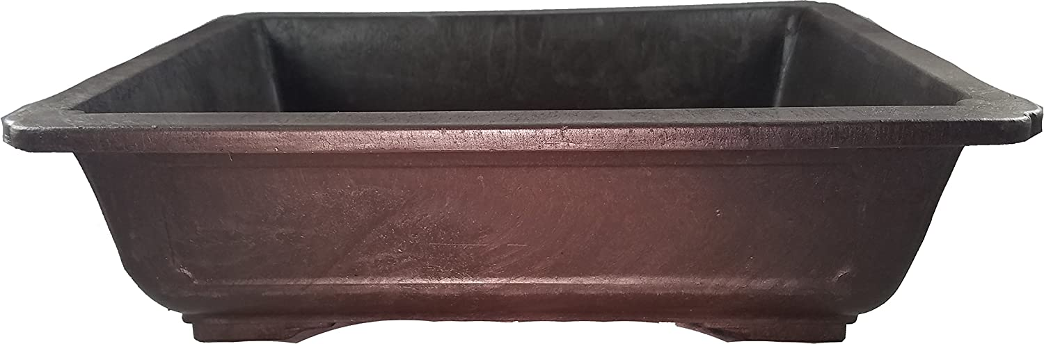 earthenware or ceramic Rectangle Mica Bonsai Training Pot Superior To Plastic Wont break from freezing or dropping like clay Exterior Dimensions 9 1//2 x 7 x 3 3//8
