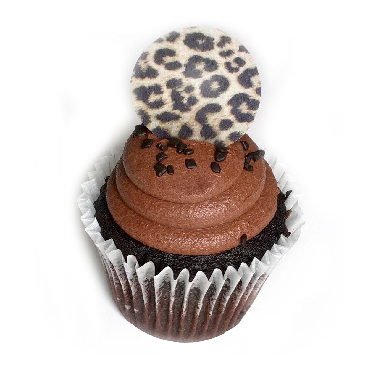 Brown Cheetah Wild Animal Print 1.5 Inch Wafer Paper Toppers for Decorating Desserts Cupcake Pack of 12