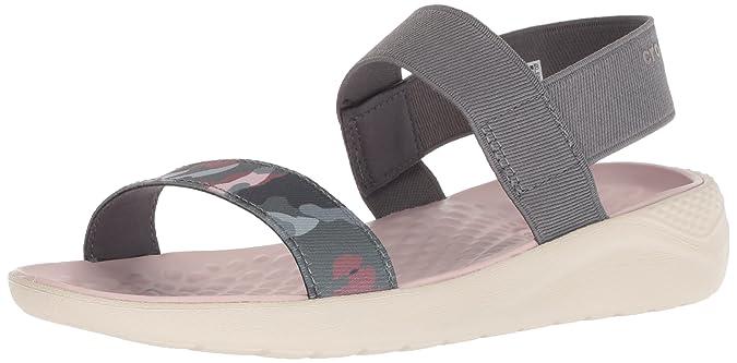 Crocs Women's LiteRide Graphic Sandal W Sport, Charcoal/Stucco, 4 M US