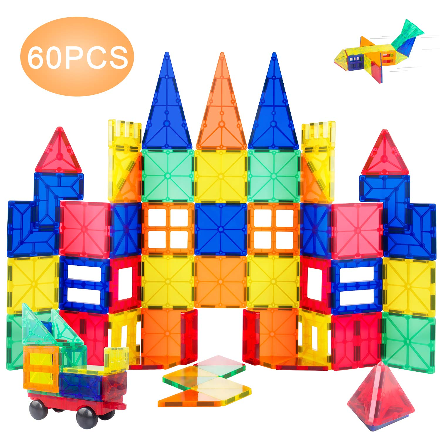 VCANNY Magnetic Blocks, Magnetic Building Blocks Set for Boys/Girls, Magnetic Tiles Educational STEM Toys for Kids/Toddlers, 60 Piece