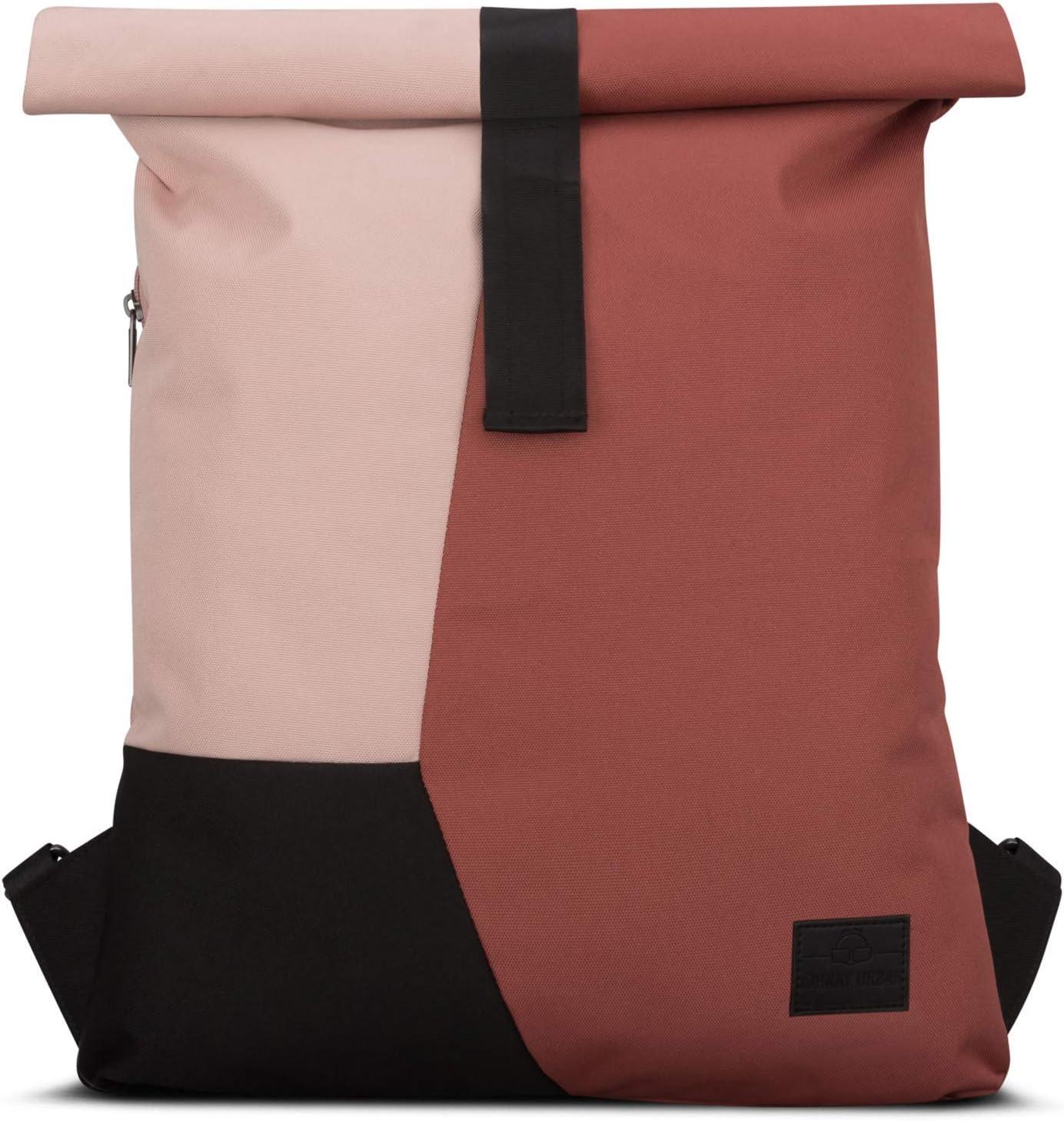 Mochila con Solapa Rojo/Rosa - JOHNNY URBAN Oskar Bolsa de Hombre y Mujer de Botellas de Plástico Reciclado - Multicolor con Solapa Superior - Moderna Bolso de Gimnasio Plegable Resistente al Agua
