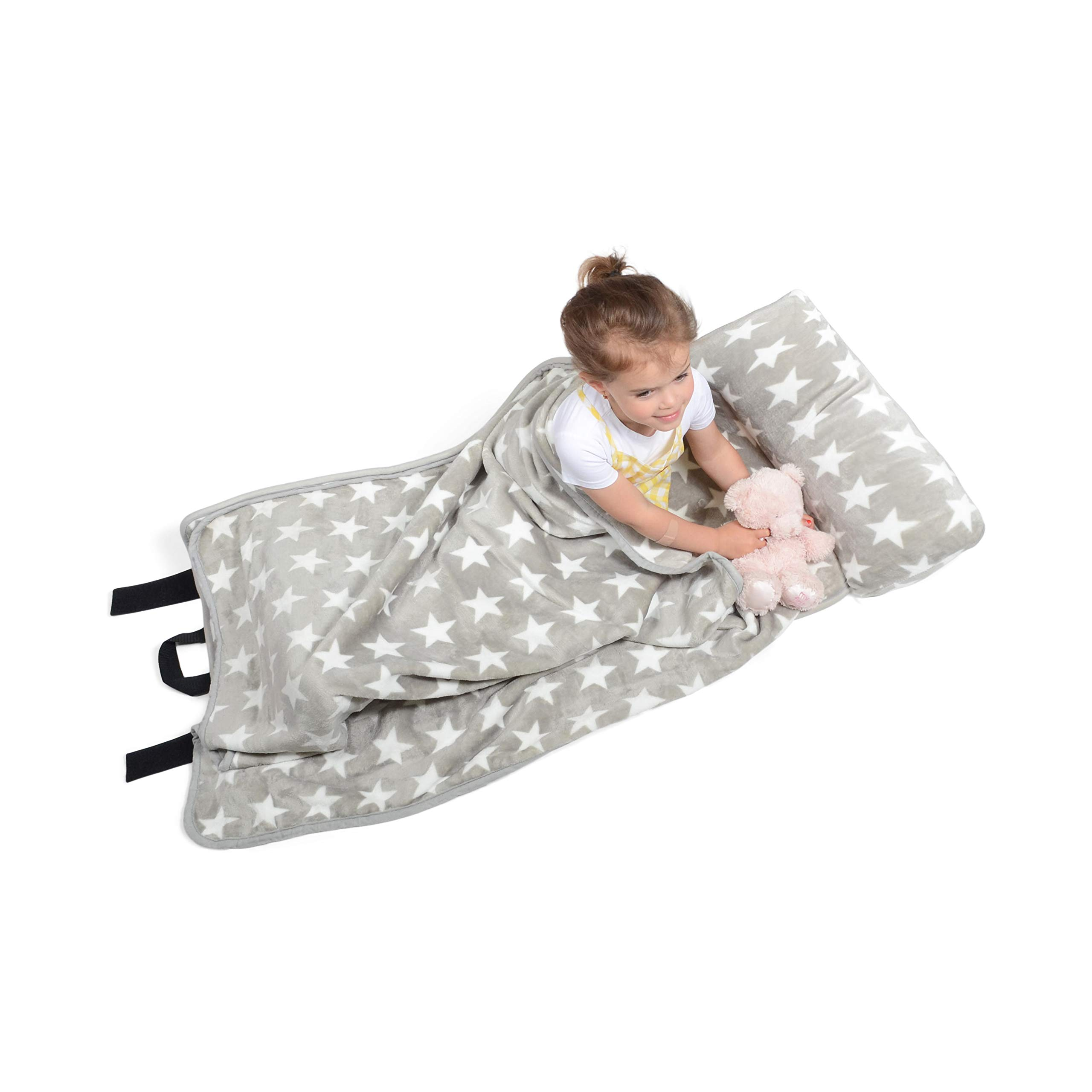 Milliard -Memory Foam- Nap Mat Roll Stars with Fuzzy Blanket and Removable Pillow, Machine Washing for Toddler Daycare Preschool Kindergarten and Sleepovers by Milliard (Image #9)