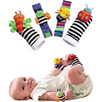 Kuhu Creations® Cute & Stylish Soft Baby Rattles. (4 Units, Style D: Multicolor 2 Wrist & 2 Foot Rattle)