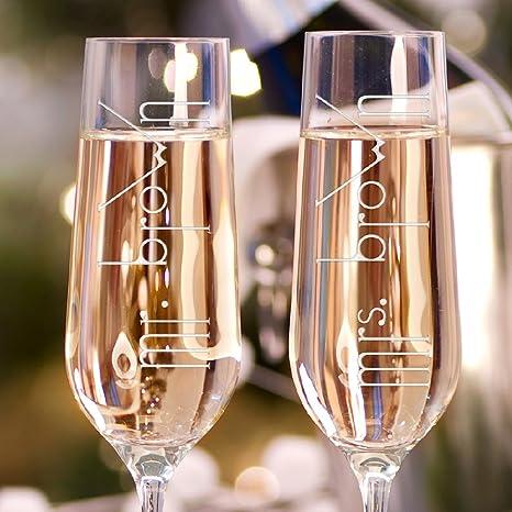 Amazon Set Of 2 Personalized Wedding Champagne Flutes Engraved