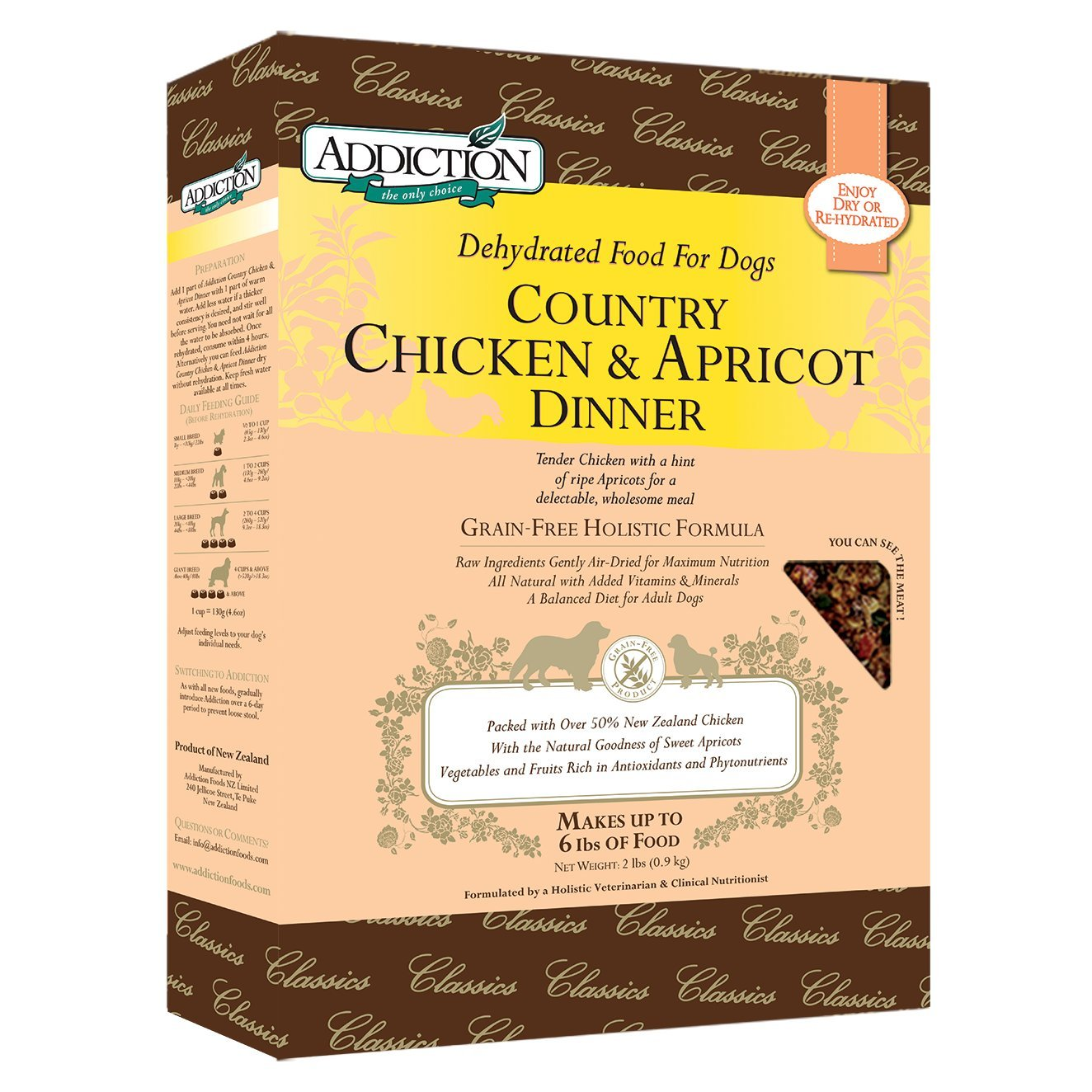 Addiction Country Chicken & Apricot Grain Free Dehydrated Dog Food, 2 Lb. by Addiction Pet Foods