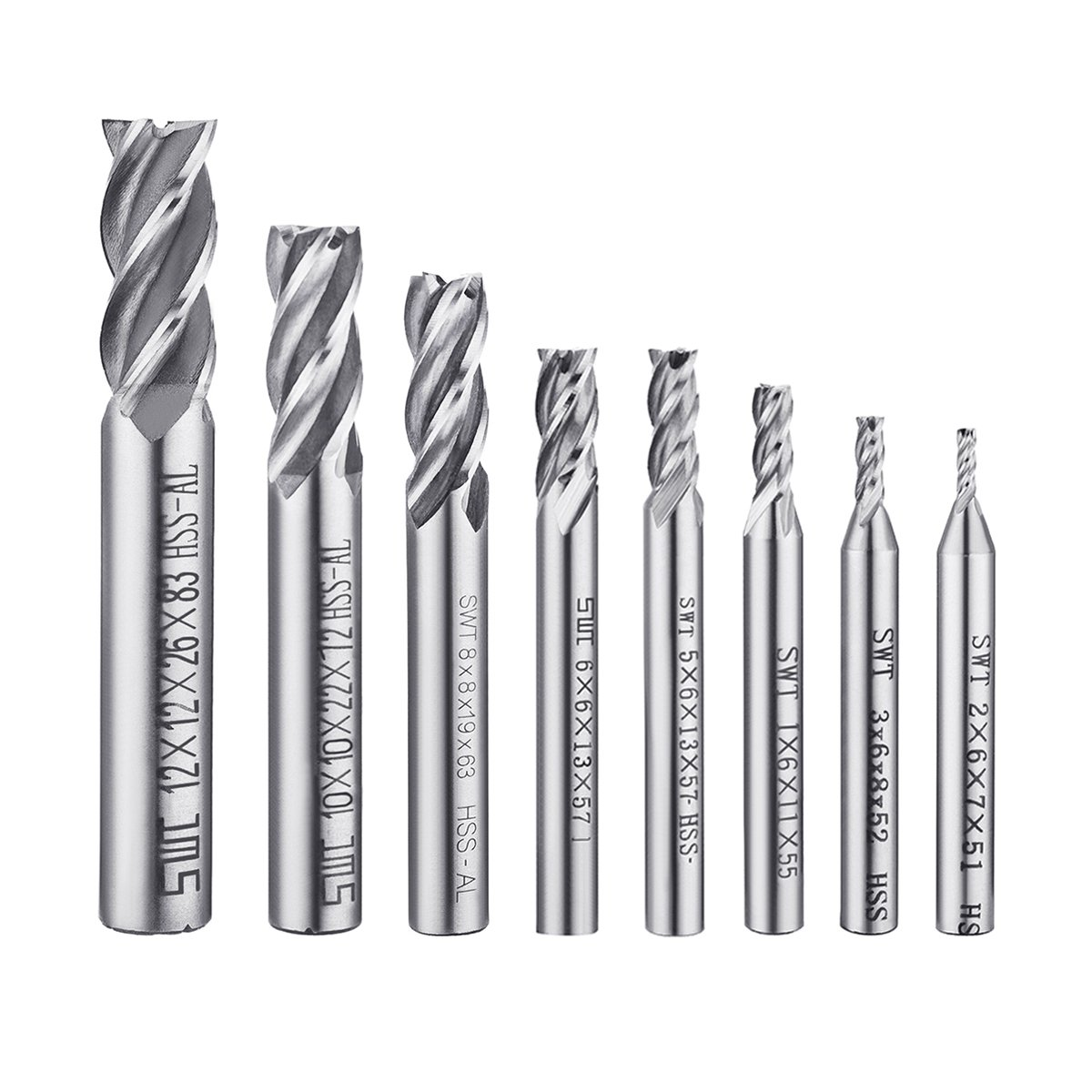 8Pcs End Mill Bits, DRILLPRO HSS CNC End Mill Cutter Drill Bits for Wood, Aluminum, Steel, Titanium, Straight 4 Flute Mill Bit Set 1/16'' - 1/2''