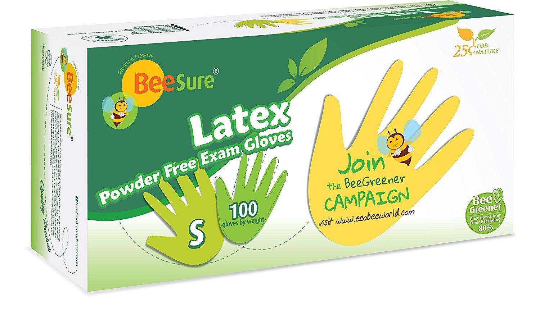 BeeSure Latex Powder Free Exam Gloves
