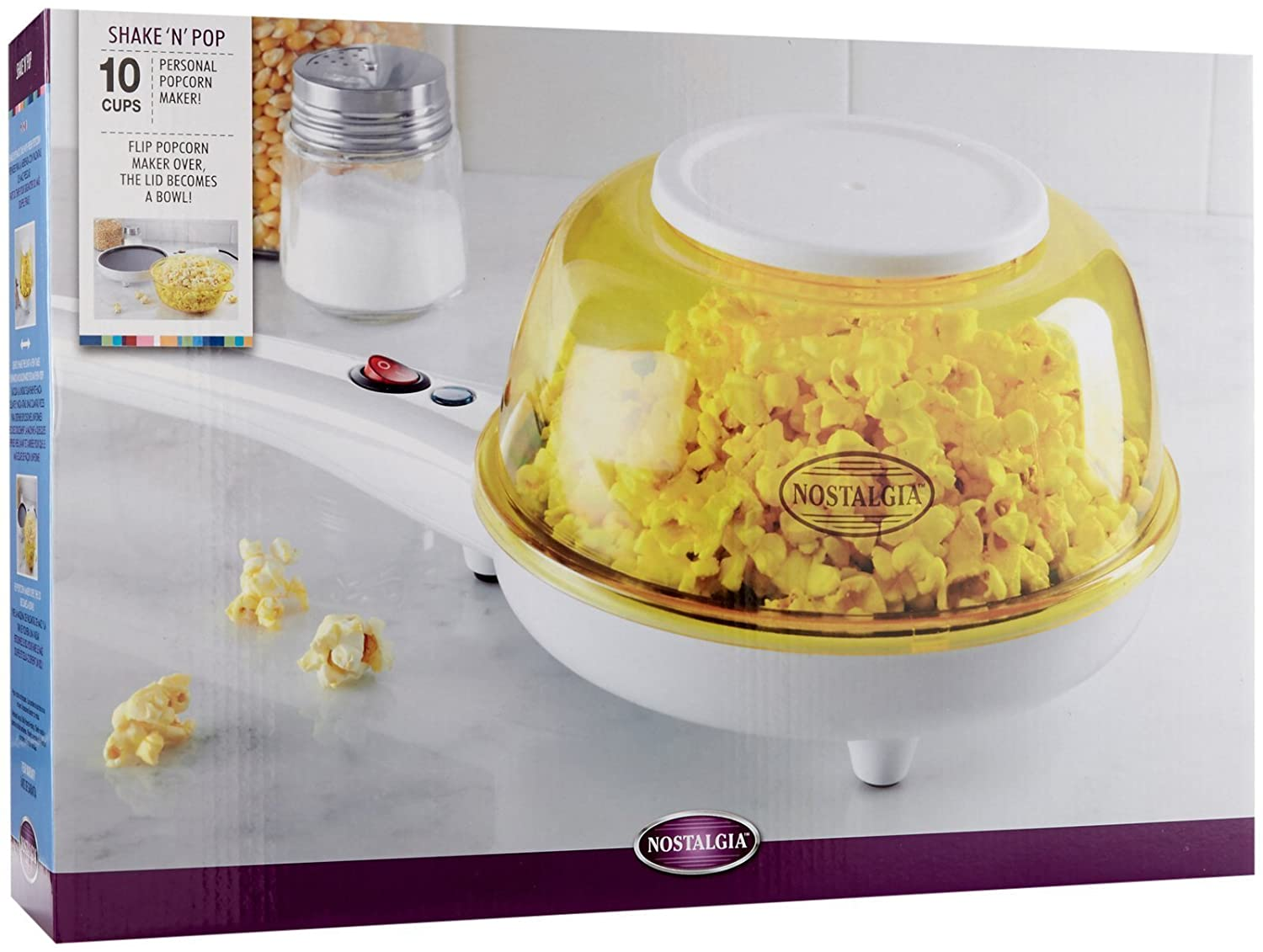 Amazon.com: SNP100 Nostalgia SNP100 ShakeN Pop Popcorn Popper, White/Yellow: Kitchen & Dining