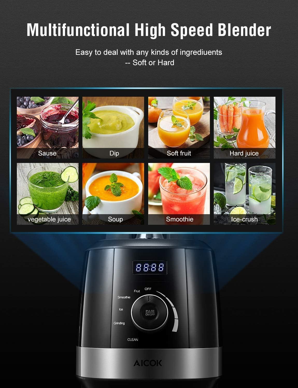 AICOK Licuadora de alta velocidad con autolimpieza y pantalla LED (1500W 70oz) 22 * 20 * 60cm Negro: Amazon.es: Hogar
