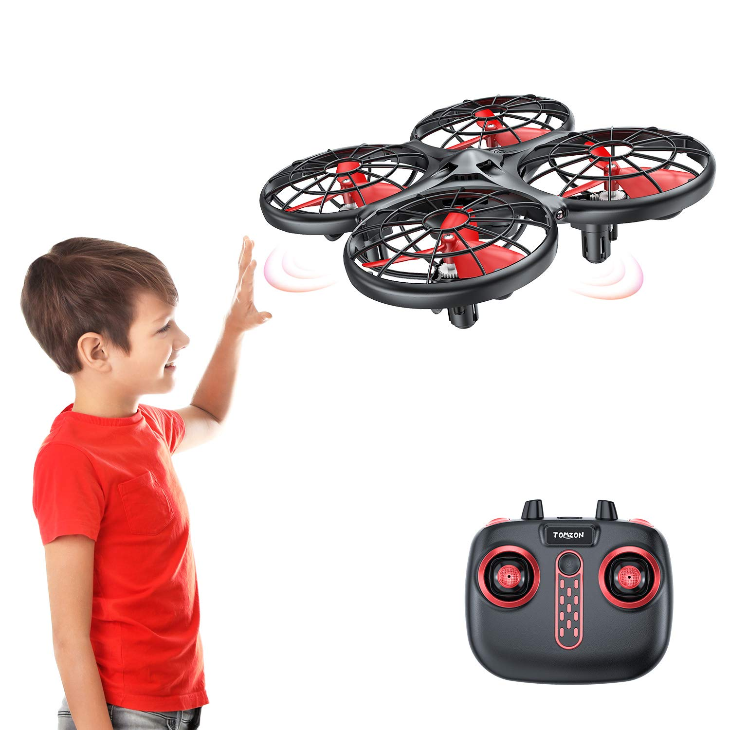 Tomzon D15 Hand Operated Mini Drone, Infrared Induction, Anti-Collision RC Quadcopter, 360° Flips UFO Drone Flying Toy, Hand Controlled Drone for Boys and Girls