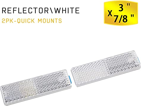 White,12pcs, Adhesive//Screw Mount 6 White Rectangular Safety Stick-on Screw Mount Reflector