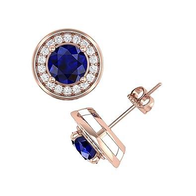e7c8c929a Amazon.com: 14K Rose Gold Round White Diamond and Blue Sapphire Halo Stud  Earrings (2 1/3 Carat) - IGI Certified: Jewelry