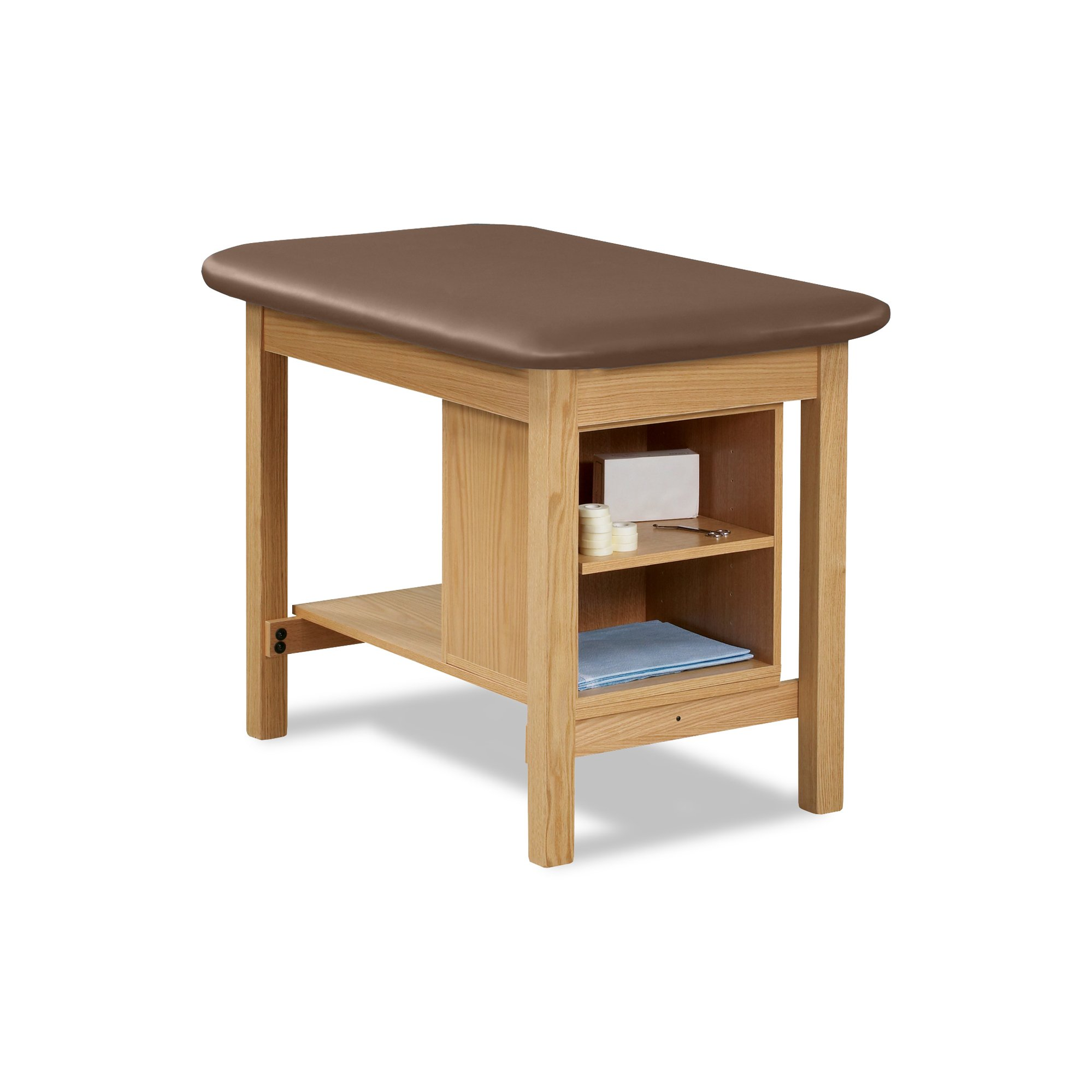 27'' Width Taping Table with Shelf Storage Natural-Cappuccino