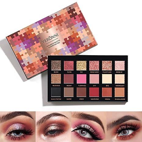 VERONNI 18 colores Paletas de Sombras Ojos de Color Mate y Perla Paletas de Maquillaje Profesional Tono de Metal