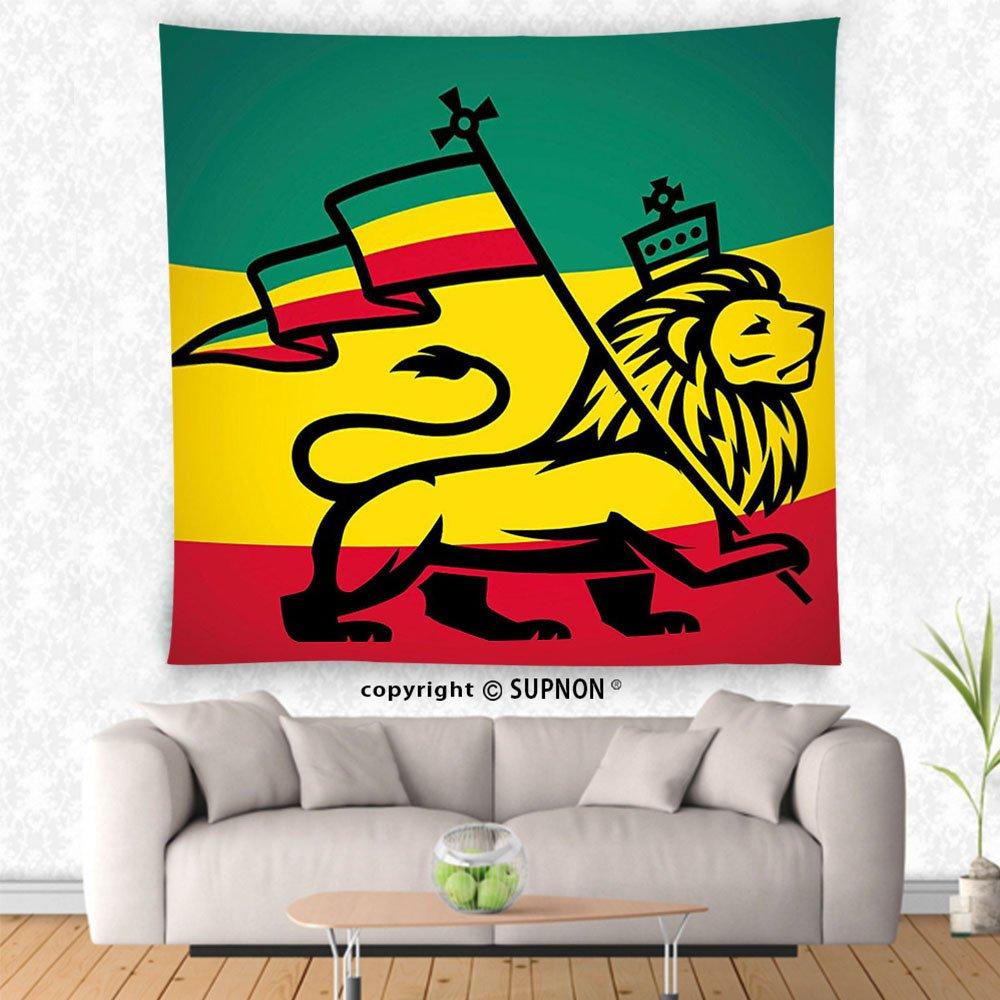 Vroselv custom tapestry rasta tapestry judah lion with a rastafari flag king jungle reggae theme art print wall hanging for bedroom living room dorm black
