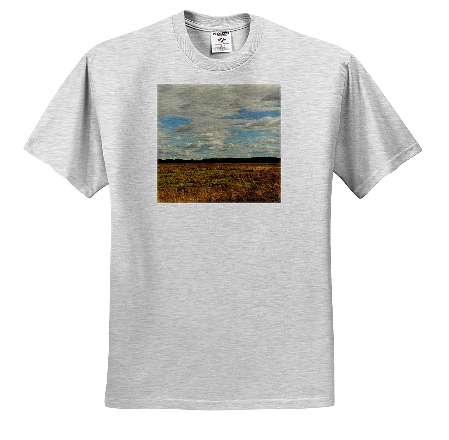 Photograph of an Open Field in South Carolina on a Cloudy Day - T-Shirts Nature 3dRose Stamp City
