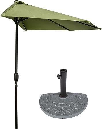 9u0027 Patio Half Umbrella With Gray Floral Half Base By Trademark Innovations  (Light