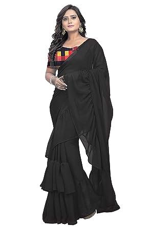 Style; New Designer Fashionable Blue Sari Latest Frill Border Ruffle Saree For Women Fashionable In