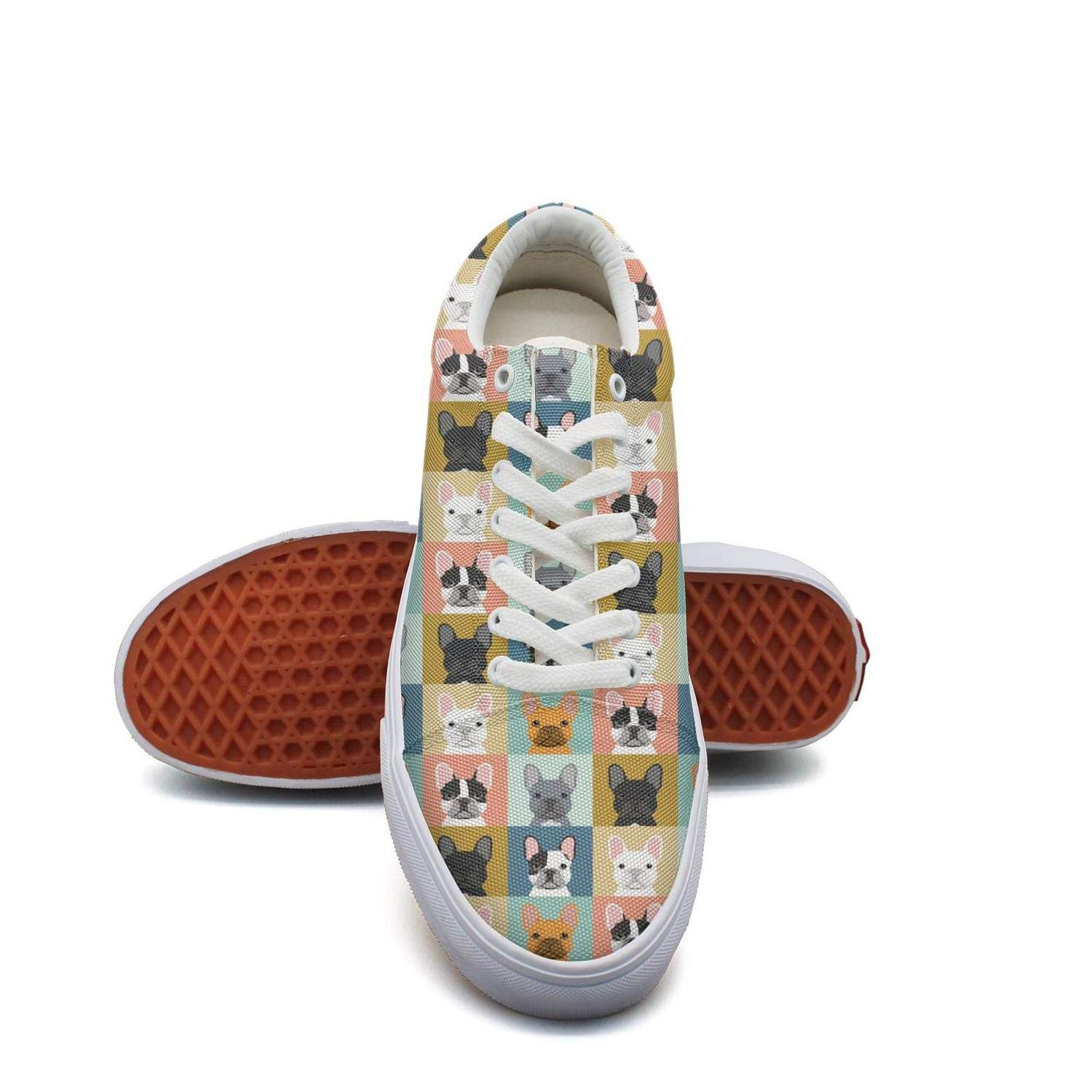 Mortimer Womens Canvas Fashion Sneakers French Bulldog Funny Dog Sofa Skate Shoe Lace Up Casual Shoes
